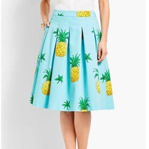 NWOT Talbots pineapple print full pleated skirt